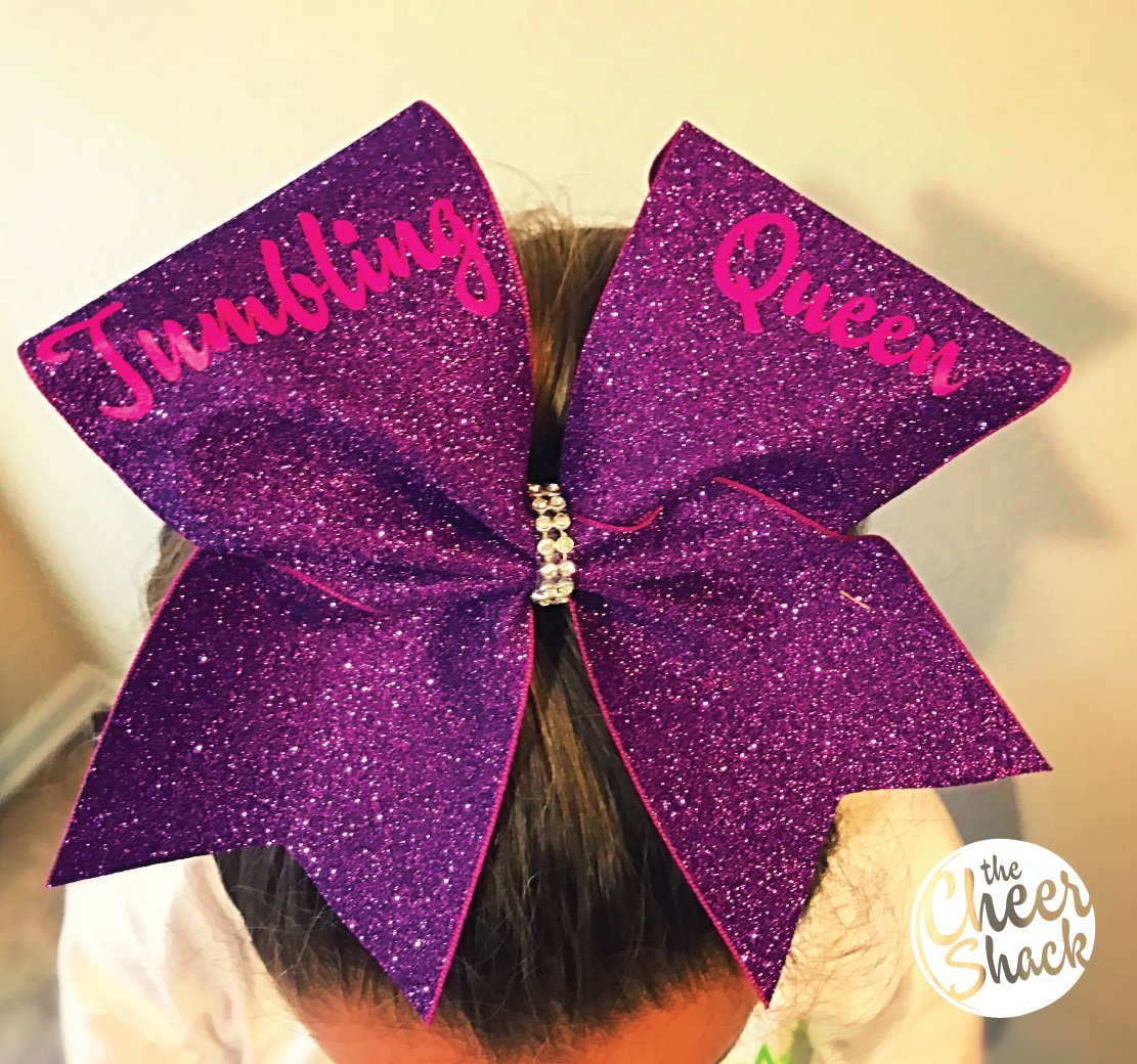 Tumbling Queen, Purple Glitter Cheer Bow, Cheer Bow