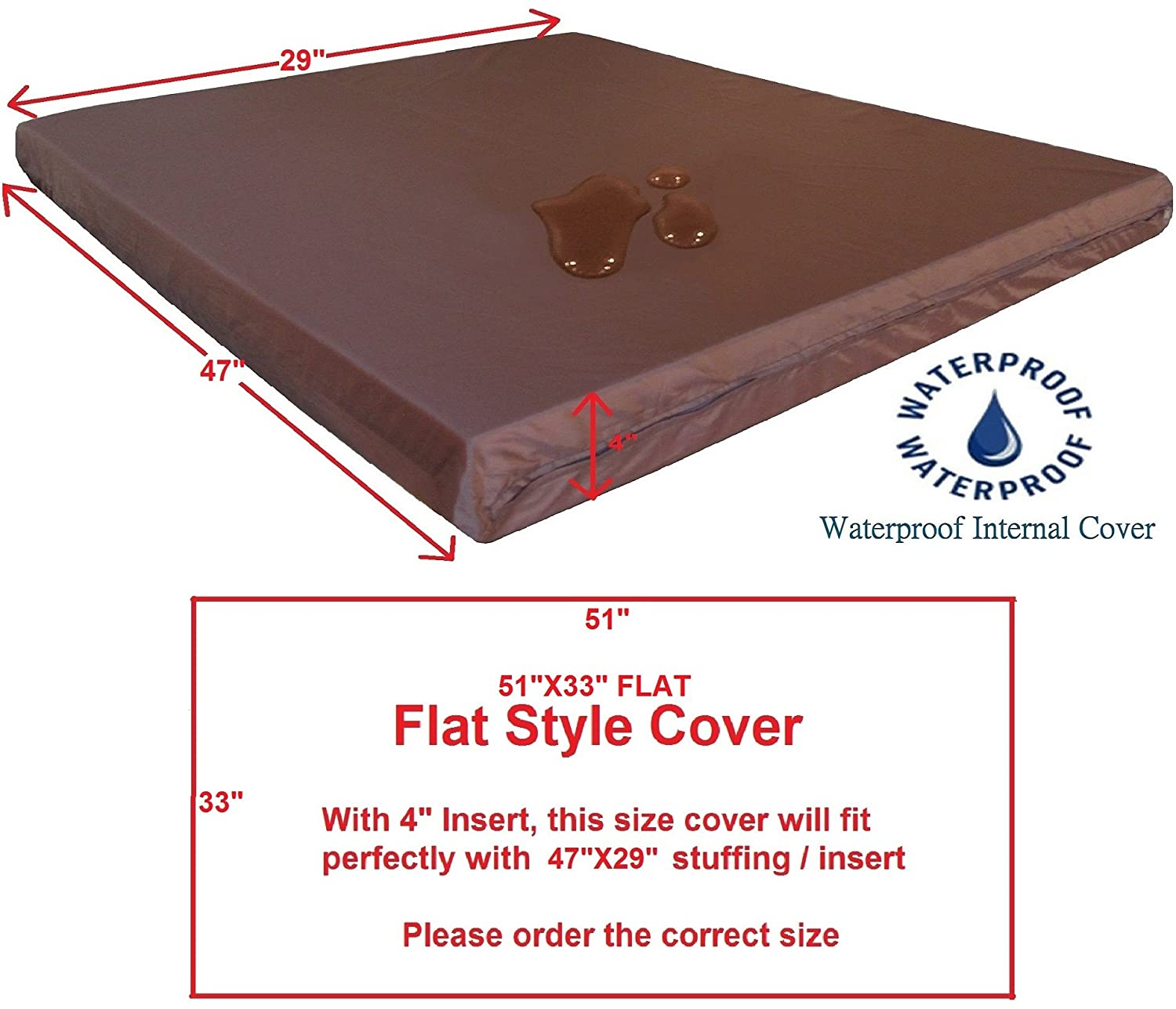 Cover Liner Only Dogbed4less Internal Duvet Case Waterproof Zipper Dog Bed Cover for Small Medium to Extra Large Pad Insert Stuffing Pet Bed
