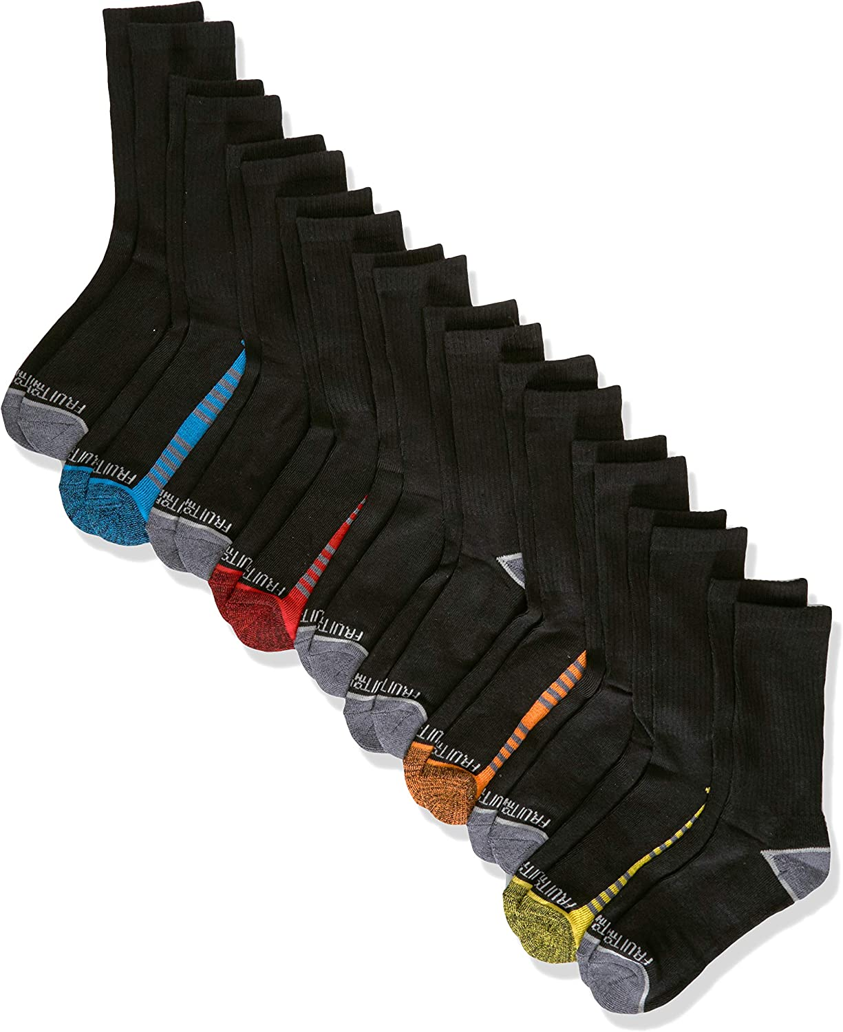 Fruit of the Loom boys 10 Pack Crew Casual Sock, Black Assorted, Shoe Size 3-9 US: Clothing