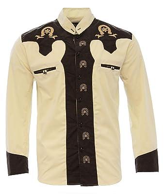 2670f82d91 El General Men s Charro Shirt Camisa Charra Western Wear Color Beige Brown  (Small)