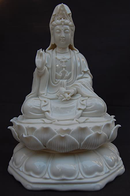 Beautiful Porcelain Quan Yin sitting on a lotus flower Brilliant Glossy White