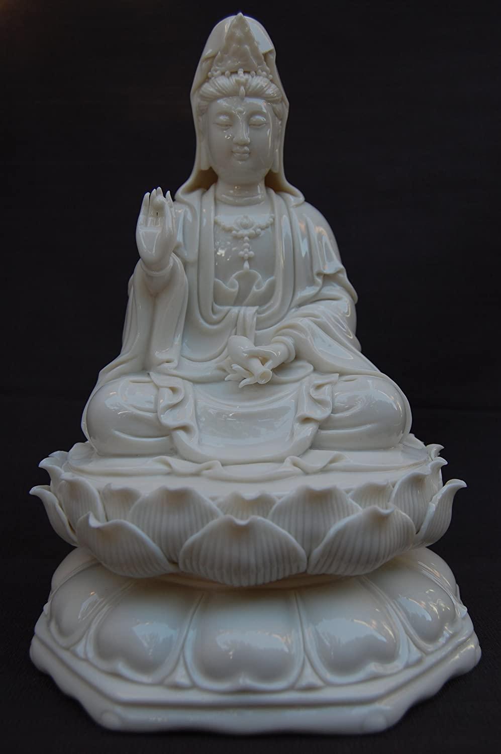 Meditating Quan Yin Buddha Sitting on a Lotus Blossom, White Porcelain Figurine Decoration