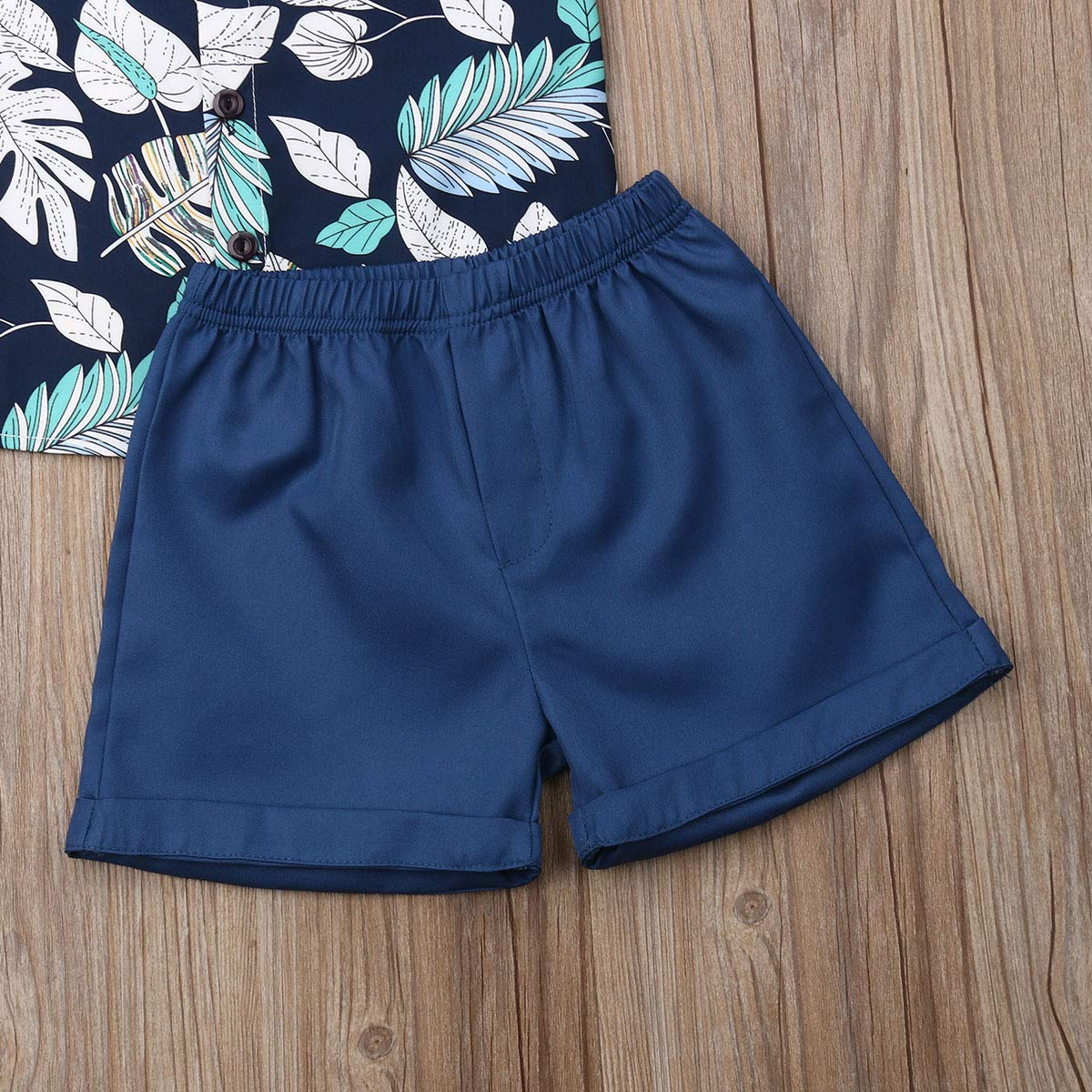 Toddler Little Boy Kids Summer Floral Shirt Bermuda Shorts Outfit Set Clothes