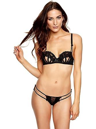 aa005fbbe Ann Summers Womens Lara Peep Underwired Bra Black Sexy Lingerie Underwear  XS  Amazon.co.uk  Clothing