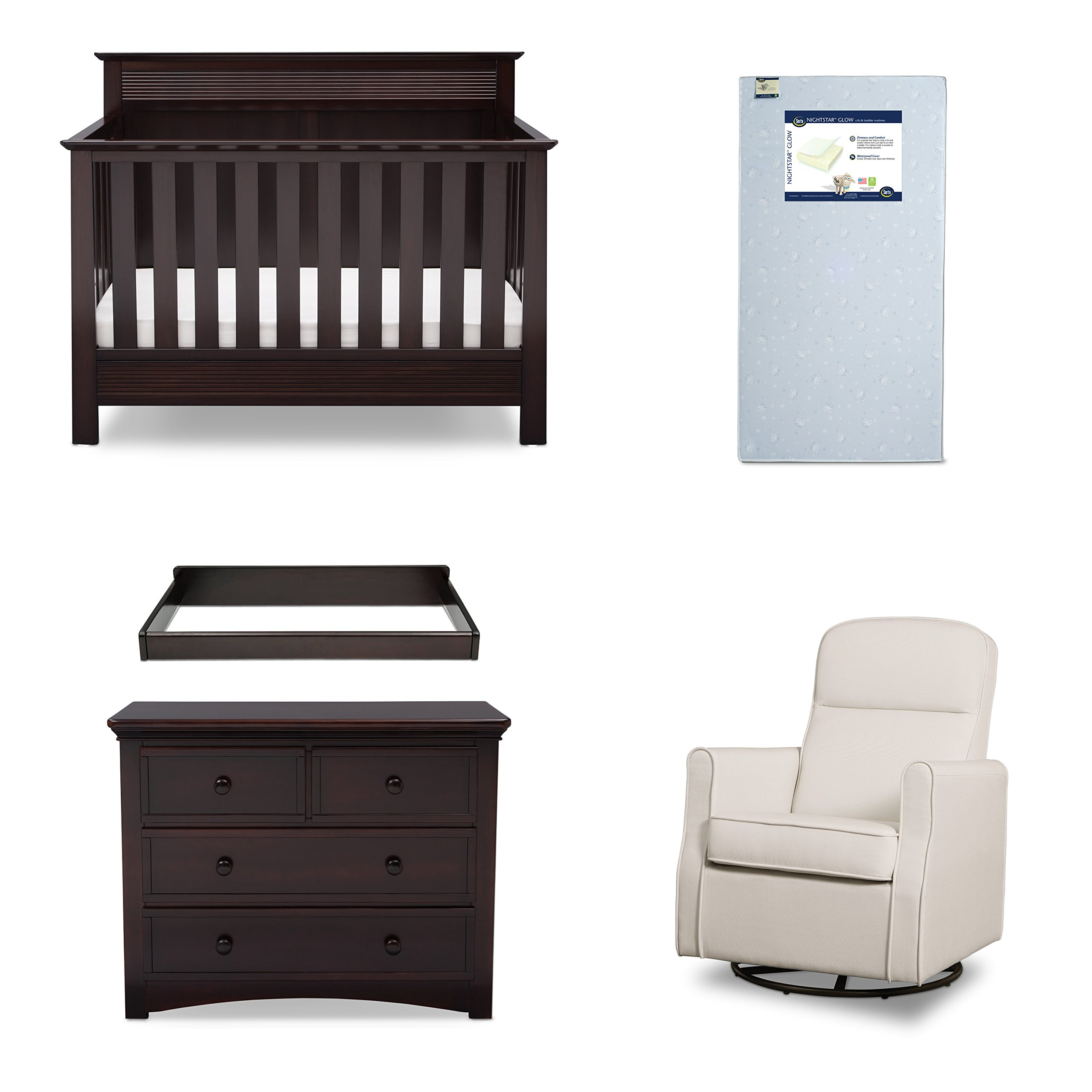 Serta Fall River 5-Piece Nursery Furniture Set (Serta Convertible Crib, 4-Drawer Dresser, Changing Top, Serta Crib Mattress, Glider), Dark Chocolate