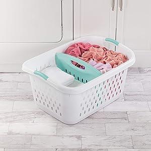 Sterilite 12138004 Laundry Basket 2.2 Bushel White Aqua Chrome Handles/Divider