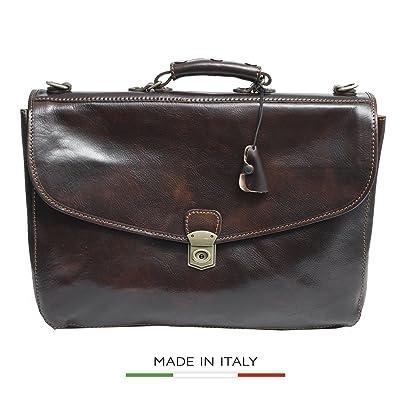 Luggage Depot USA, LLC Alberto Bellucci Italian Leather Triple Compartment Messenger Briefcase, D. Brn Briefcase, Dark Brown durable service