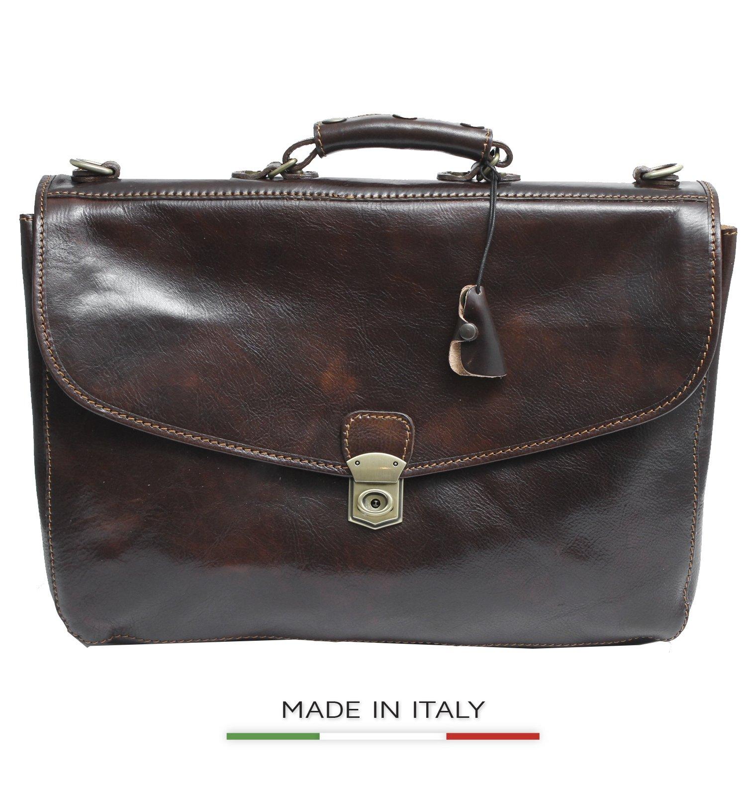 Luggage Depot USA, LLC Alberto Bellucci Italian Leather Triple Compartment Messenger Briefcase, D. Brn Briefcase, Dark Brown