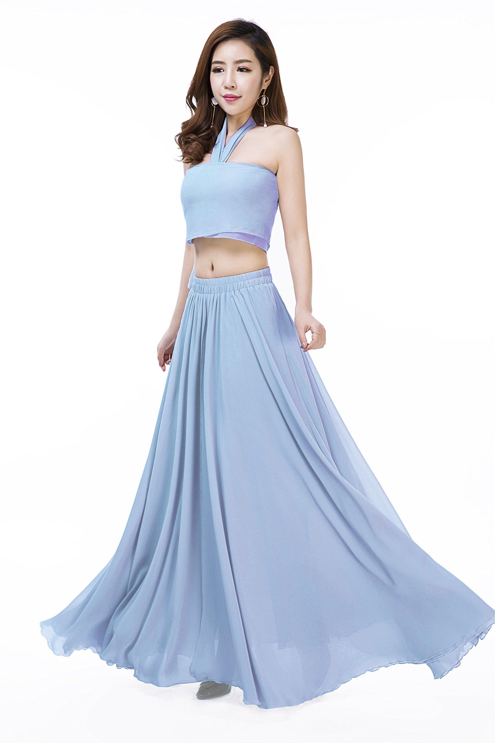 Sinreefsy Women Summer Chiffon High Waist Pleated Big Hem Full/Ankle Length Beach Maxi Skirt(XX-Large/Azure)