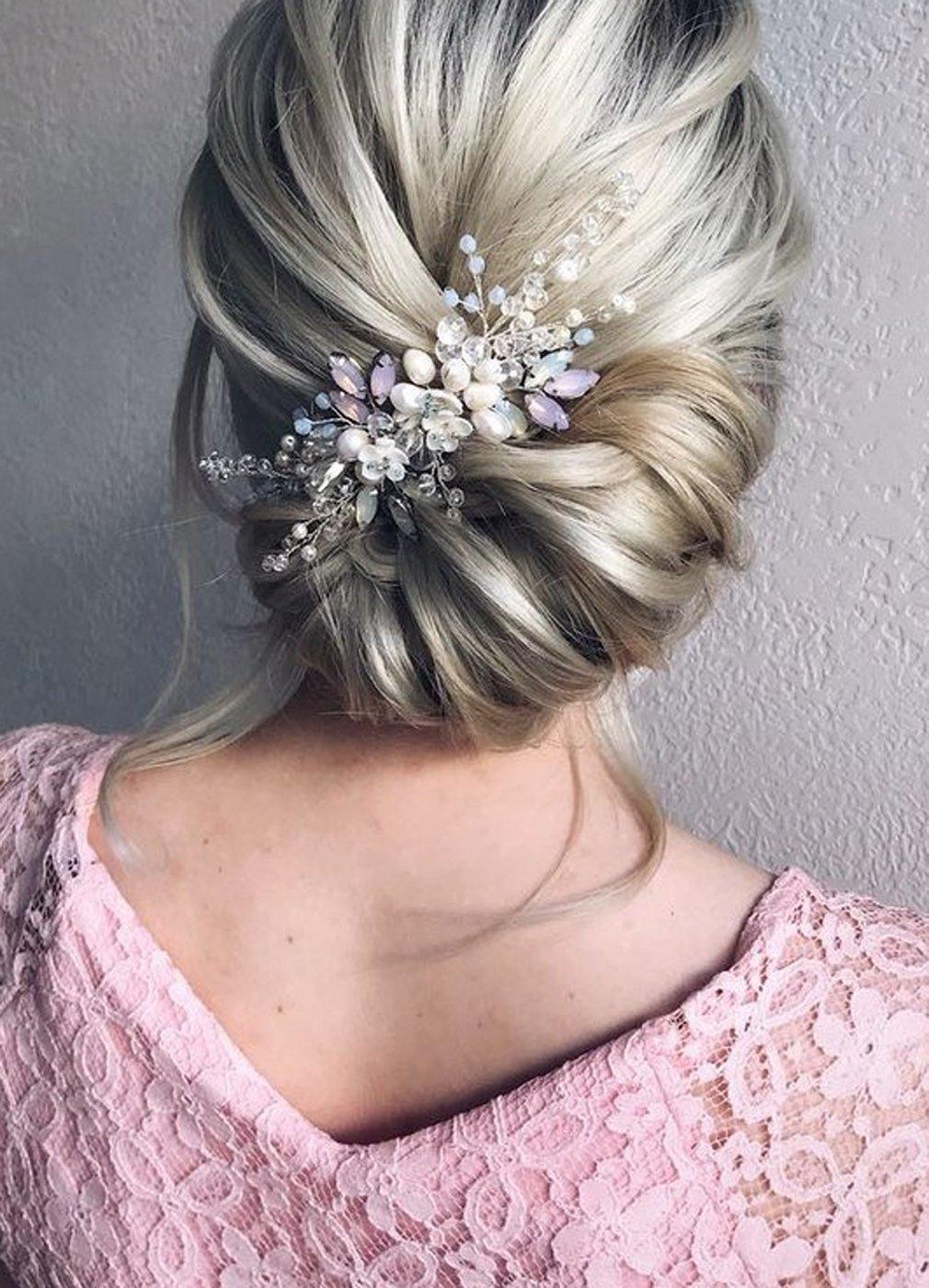 Kercisbeauty Wedding Bridal Bridesmaids Flower Girl Vintage Tiny Pearl Beads Purple and Blue Rhinestones White Flower Headband with Comb Bridal Hair Comb Headpiece Long Curly Bun Hair (Silver)