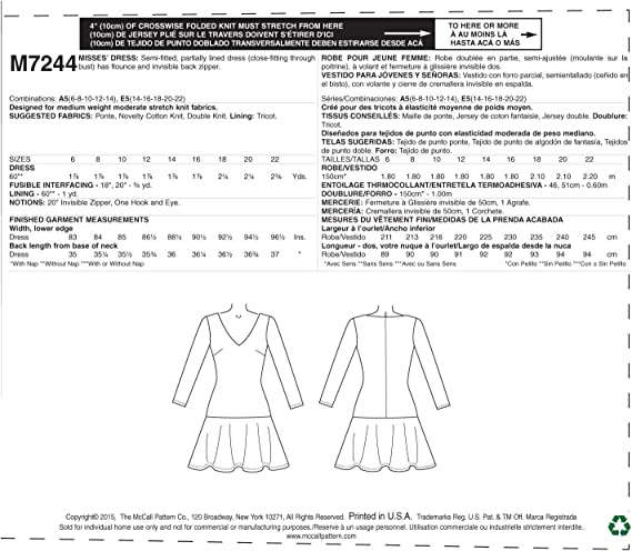 McCall/'s Pattern M7244 ~ Misses/' Semi-fitted Dresses