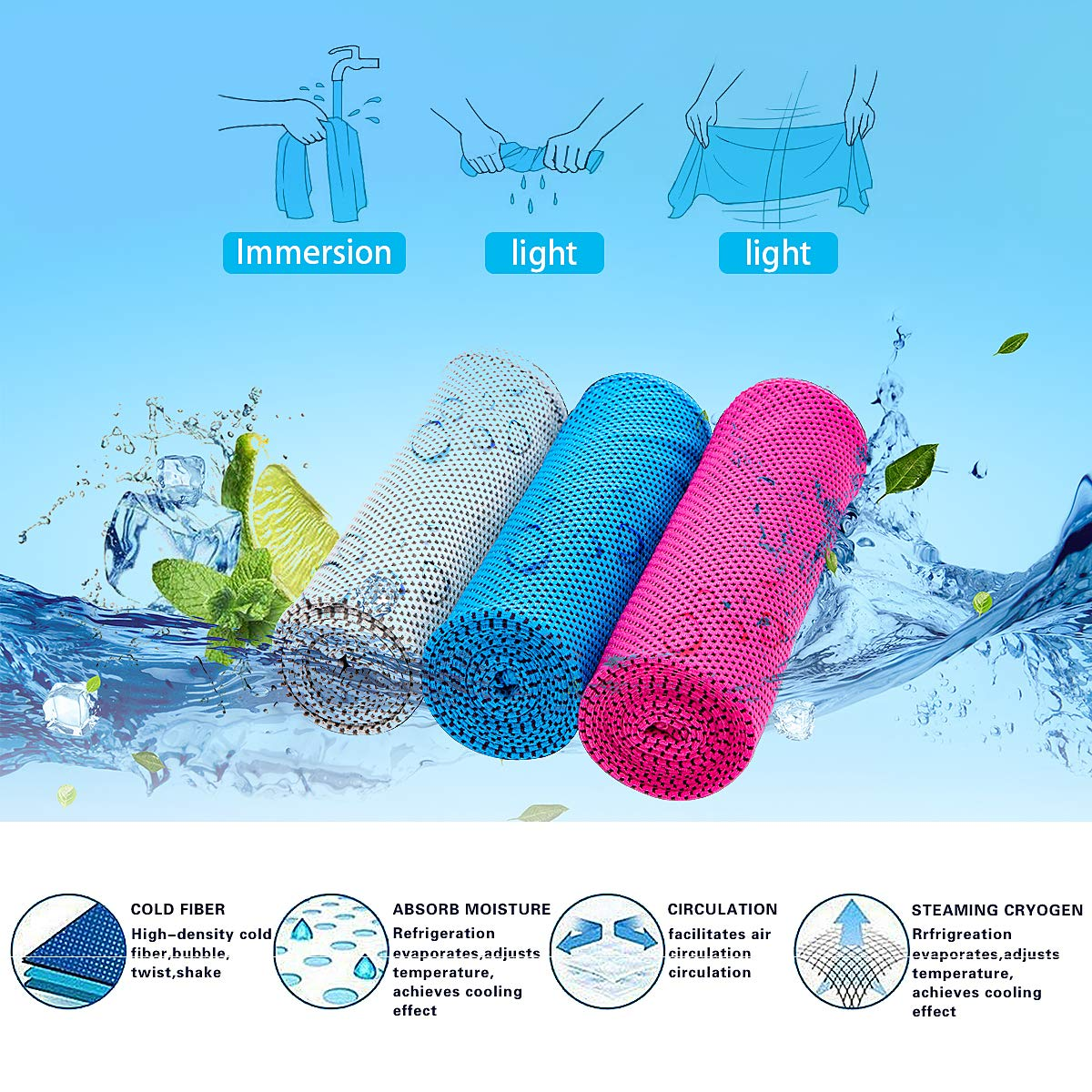Sports Towel 3 pieces Set Cool Towel Cool Sensation Cool Towel Quick Dry Ice Towel Cool Towel Speed Cool Ice Towel Super absorbent Lightweight Outdoor Yoga Gym Application (Gray + Blue + Pink) (3piece