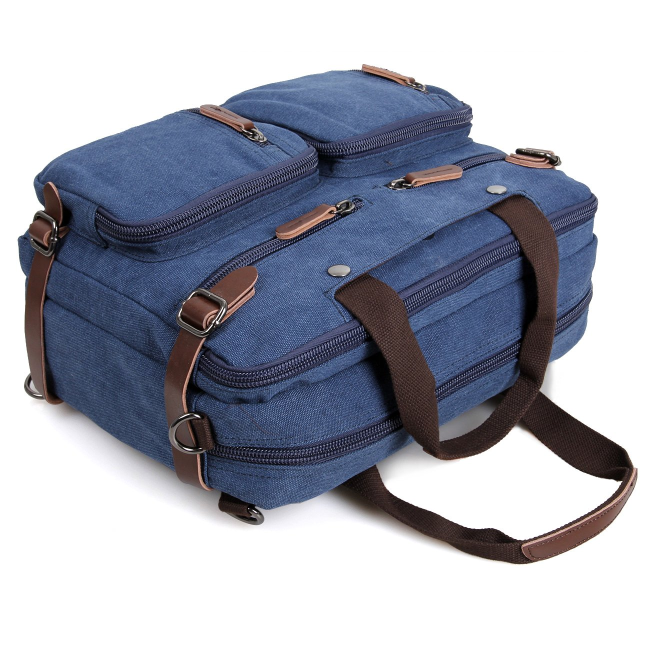 Clean Vintage Laptop Bag Hybrid Backpack Messenger Bag/Convertible Briefcase Backpack Satchel for Men Women- BookBag Rucksack Daypack-Waxed Canvas Leather, Blue by Clean Vintage (Image #9)