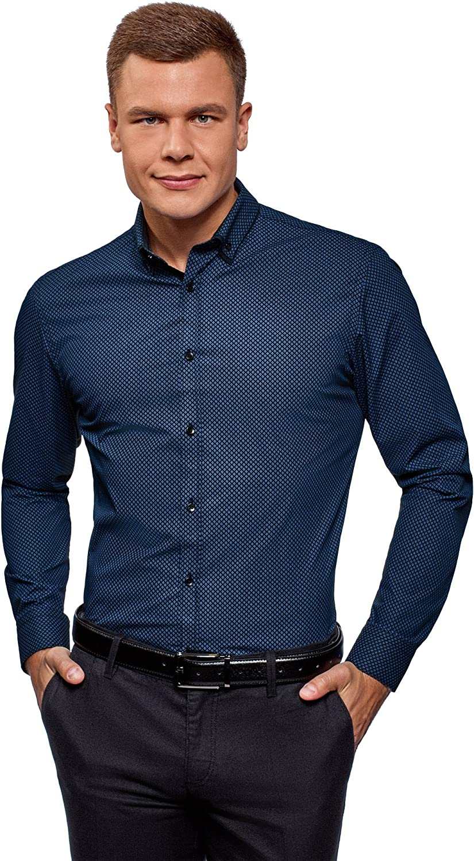 oodji Ultra Hombre Camisa Estampada con Cuello Doble: Amazon.es: Ropa y accesorios