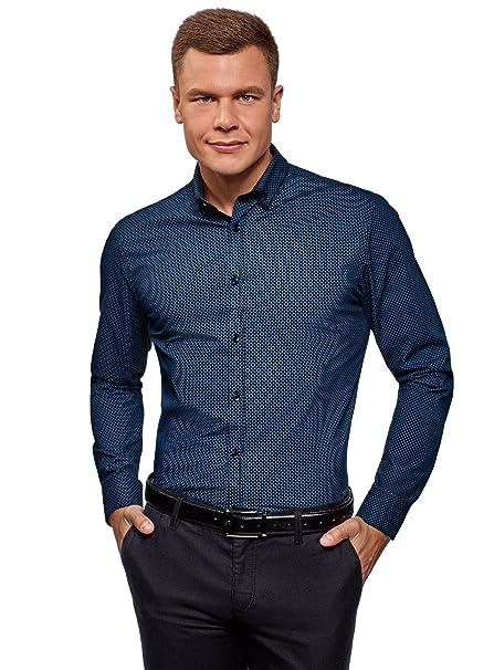oodji Ultra Hombre Camisa Estampada con Cuello Doble: Amazon.es ...