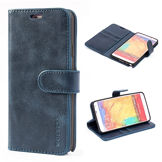 cheap for discount 7e001 de9a6 Samsung Galaxy Note 3 Case,Mulbess Leather Case, Flip Folio Book Case,  Money Pouch Wallet Cover with Kick Stand for Samsung Galaxy Note 3,Dark Blue