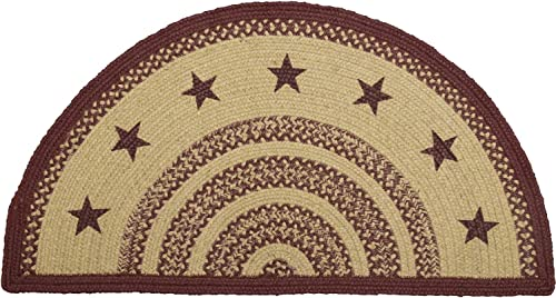 VHC Brands 6128 Classic Country Primitive Flooring-Burgundy Tan Jute Red Stenciled Stars Half Circle Rug, 16.5 x 33