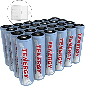 Tenergy NiMH AA, 1.2V AA, High Capacity 2500mAh Double A Cell, 24 Pack w/Bonus 6 Battery Cases