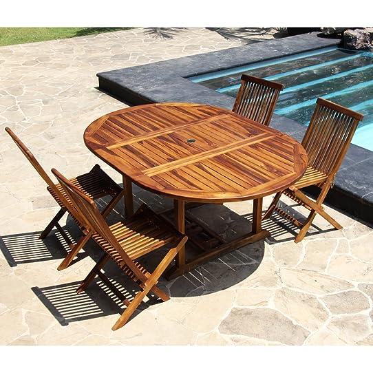 Salon de jardin teck huilé 4 à 8 personnes - Table ronde/ovale ...