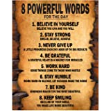 """8 Powerful Words for the day Motivational Poster Thick Cardstock Paper, Ready to be Framed 11"""" x 14"""" inches Inspirational Wal"""