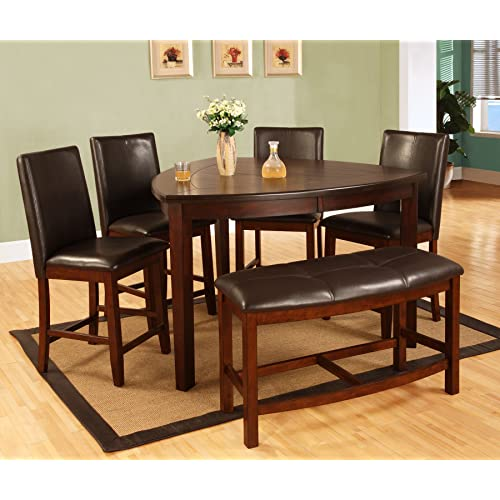 Superbe Best Quality Furniture D876Set 6PC CH Set, Dark Cherry