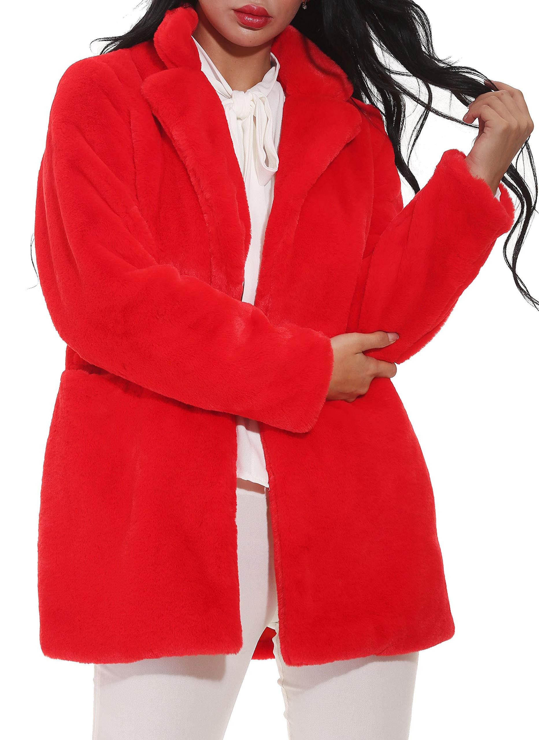 Hishoes Mujer Abrigo de Piel sintética Elegante Abrigos Chaquetas de Pelo  Sintético de Manga Larga Cárdigan e67ce3d1b342
