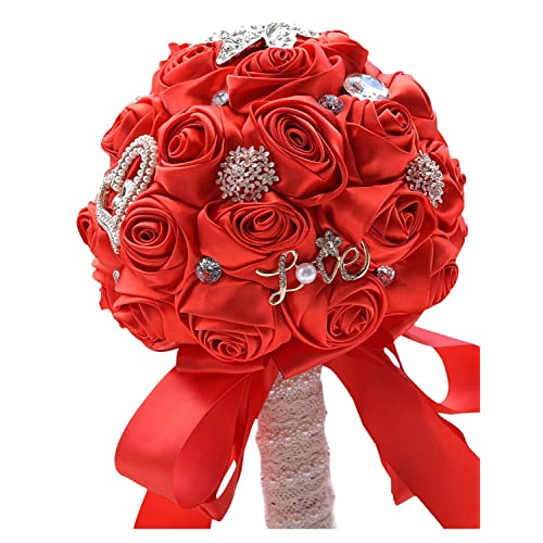 Red wedding bouquets amazon belle house hand made rose satin bridal wedding bouquet for bridesmaid holding flowers red white mightylinksfo
