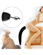 Anal Butt Plug Stainless Steel Anal Stopper Smooth Anus Toy with Faux Fox Tail,Black