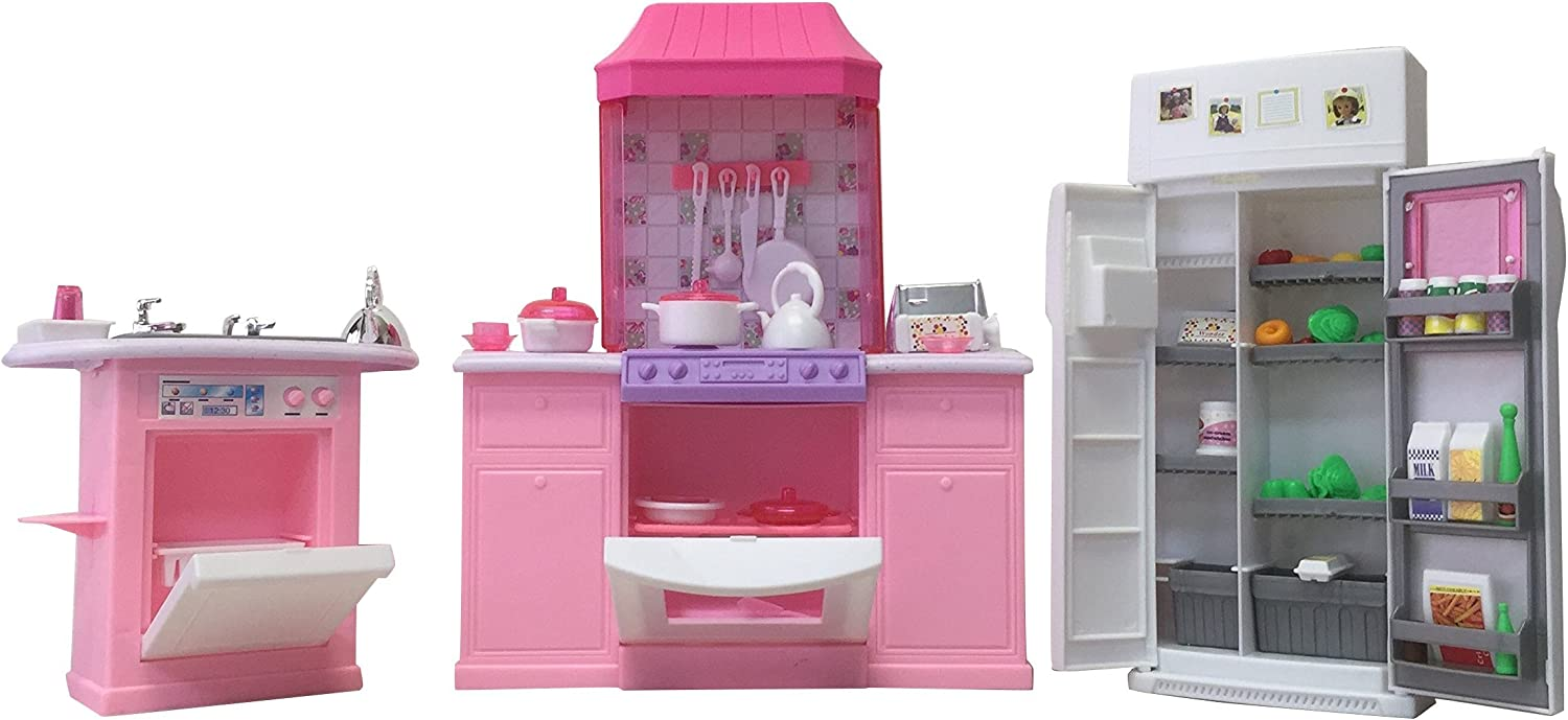 Barbie Size Dollhouse Furniture Accessories Plate Glasses Spoon