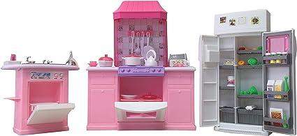 Amazon Com Gloria Dollhouse Furniture Deluxe Kitchen Play Set Toys Games