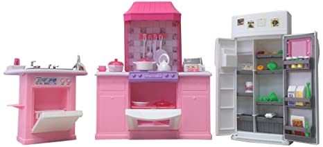 Amazon Com Gloria Dollhouse Furniture Deluxe Kitchen Play Set