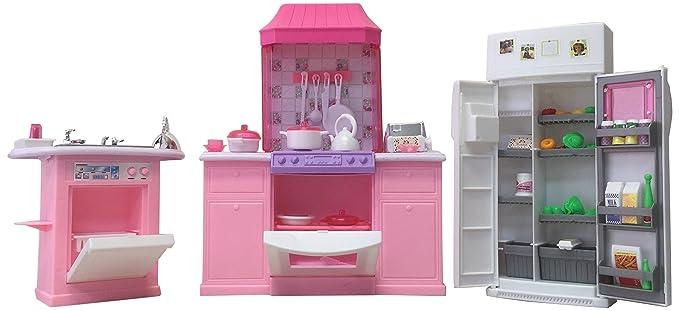 Amazon.com: Barbie Size Dollhouse Furniture - Kitchen Set: Toys & Games
