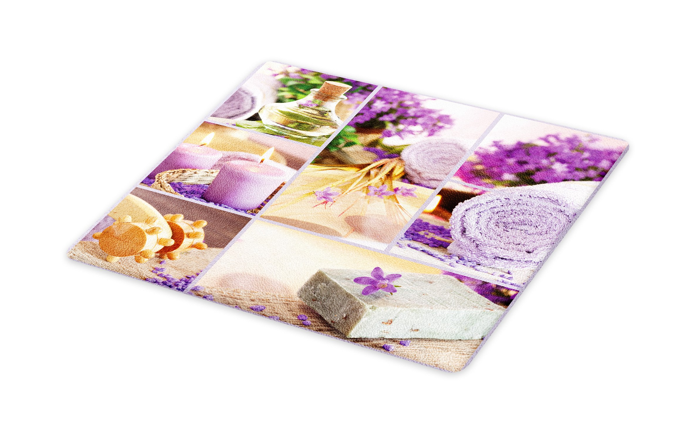 Lunarable Spa Cutting Board, Lavender Themed Relaxing Joyful Spa Day with Aromatherapy Oils Candles Relaxation, Decorative Tempered Glass Cutting and Serving Board, Large Size, Purple and White