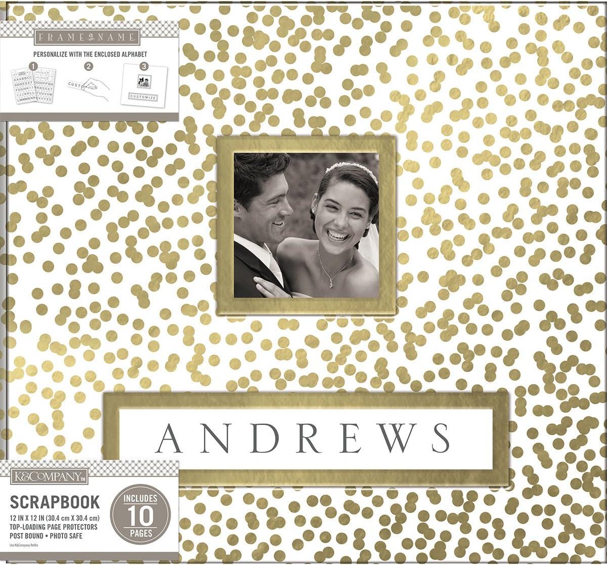 K /& Company KAC749382 K/&Co Scrapbook 12x12 Frame-A-Name Gold Foil Scattr Scrapbook 12x12 Goldfoilscttr