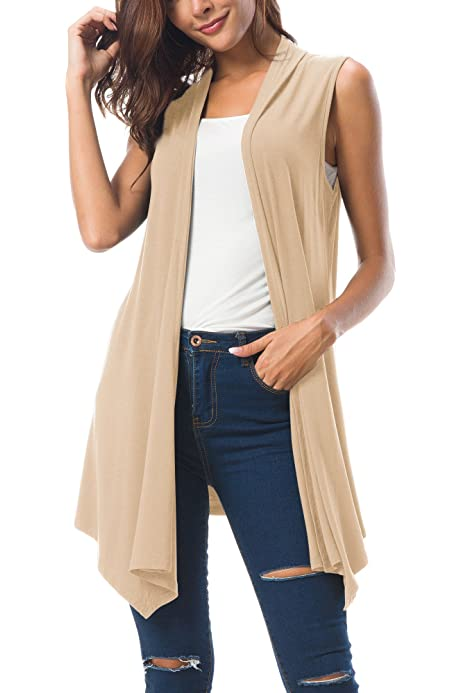 URRU Womens Casual Sleeveless Open Front Cardigan Sweater Vest with Pockets and Belt S-XXL