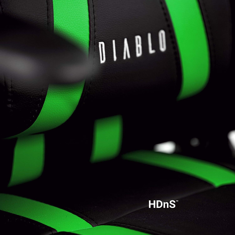 Diablo X-One Gaming Stuhl Wippfunktion Lendenkissen Kunstleder h/öhenverstellbar Farbwahl Schwarz//Gr/ün