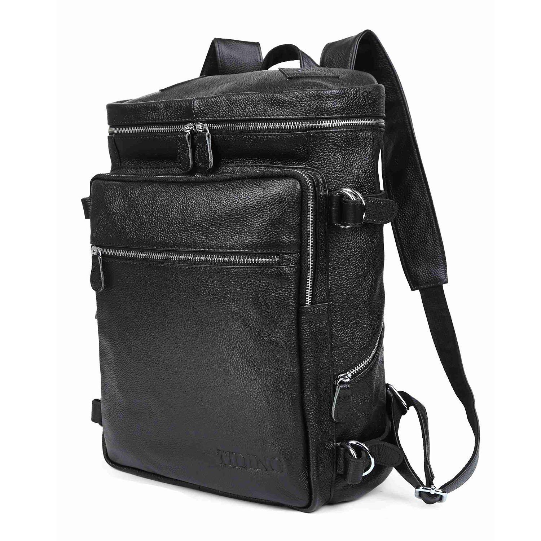 UBaymax Fashion Genuine Leather Travel College Backpack Shoulder 16'' Laptop Book Bag
