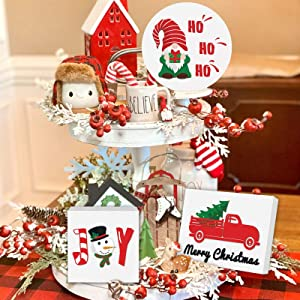 Christmas Gnome Tiered Tray Decorations Farmhouse Xmas Party Rustic Home Kitchen Red Truck Snowman Decor Seasonal Holiday 3D Wood Sign Shelf Standing Sitter Rae Dunn Inspired Wood Block Ornaments 3