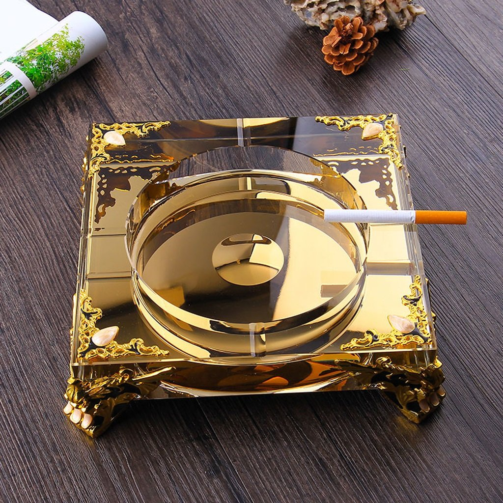 Home Ashtray Crystal Glass Cigarettes Windproof Living Room Coffee Table Multi-function Indoor And Outdoor Ashtray Gold ( Size : 25CM )