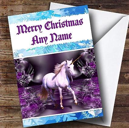 Amazon beautiful unicorn personalized christmas holiday beautiful unicorn personalized christmas holiday greetings card m4hsunfo