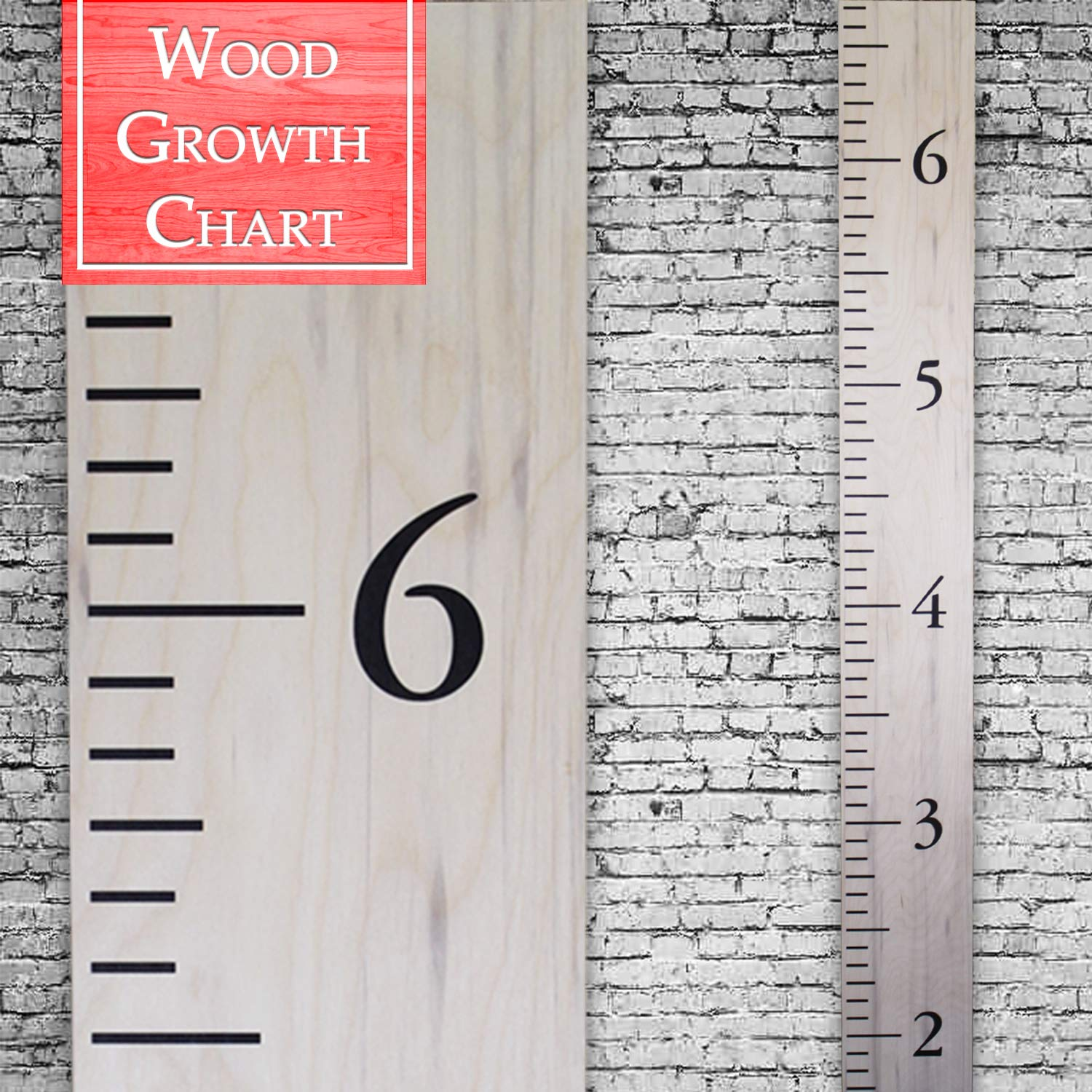 Back40Life   Premium Series - (The Benchmark) Wooden Growth Chart Height Ruler (Weathered Natural)