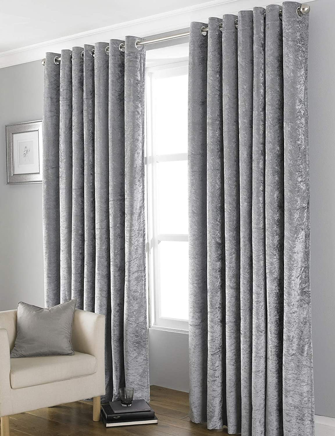 """COUNTRY CLUB Bliss Crushed Velvet Blackout Eyelet Fully Lined Thermal Curtains, Grey, 90 x 90 90 x 90"""" Grey"""