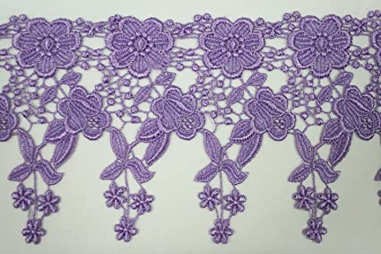 """5-1//8/"""" Wide Ivory Floral Embroidered Venice Lace Guipure Trim by Yardage 5//8/"""""""