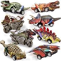 HERSITY Coche Dinosaurios de Juguetes Incluir 6 Dinosaurio Tire hacia Atrás Coches y 2 Friccion Motocicletas Regalos…