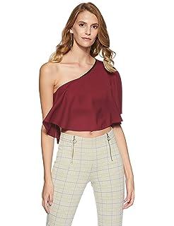 2977b21c29cd3 TEXCO Off Shoulder Ruffled Women Crop Tops  Amazon.in  Clothing ...