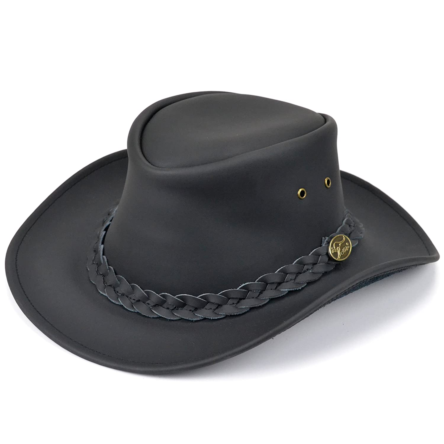 Leather bush hat (small) black