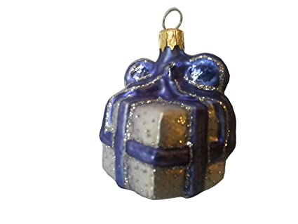 Christmas Ornament Gift Box Miniature Silver Blue One Of Our Hand Painted Christmas Ornaments A Luxury Christmas Decorations Christmas Gift