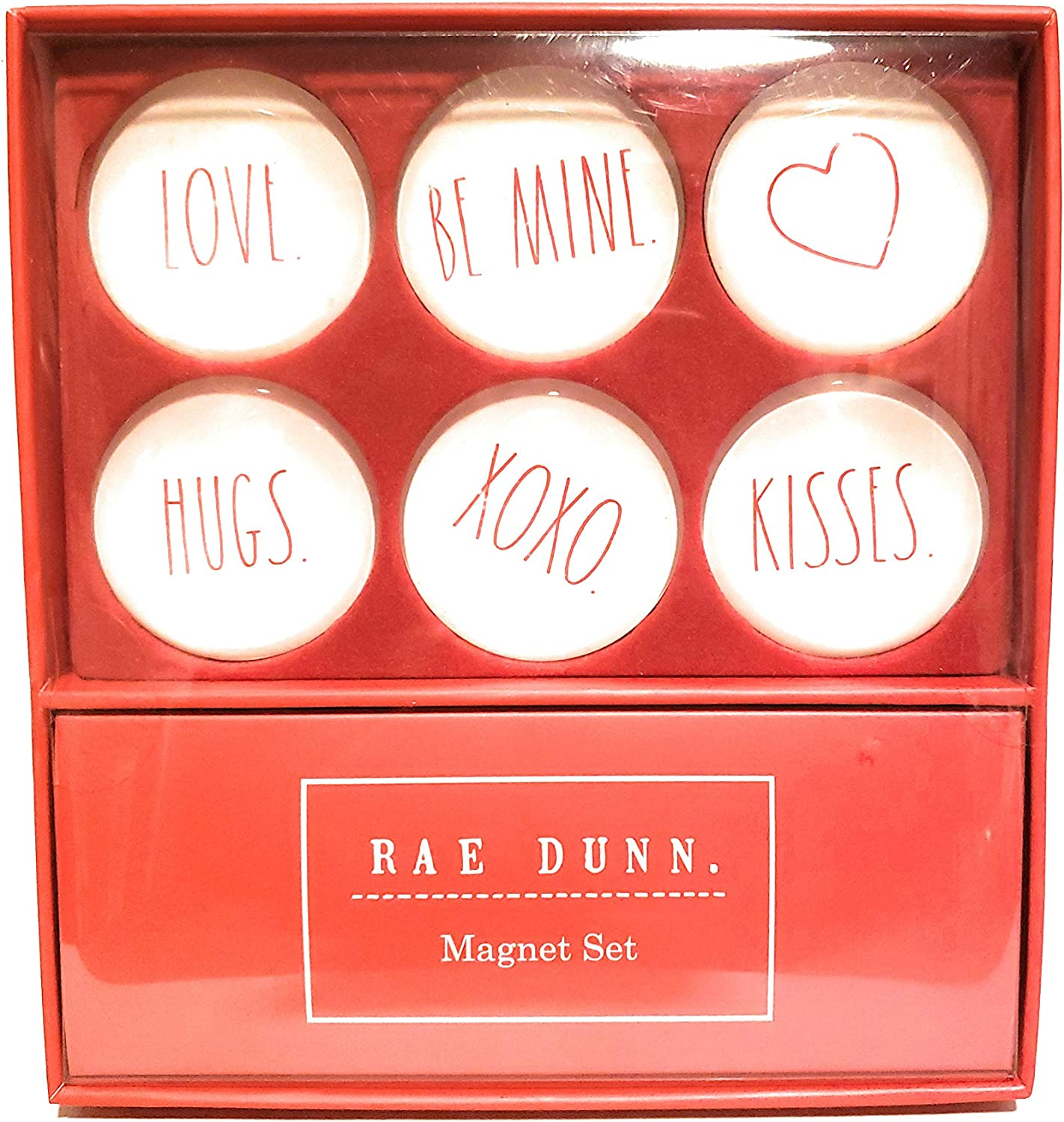 Rae Dunn 6 Piece Glass-Dome Magnet, Red, Valentines Day- LOVE, BE MINE, HUGS, XOXO, KISSES, Heart