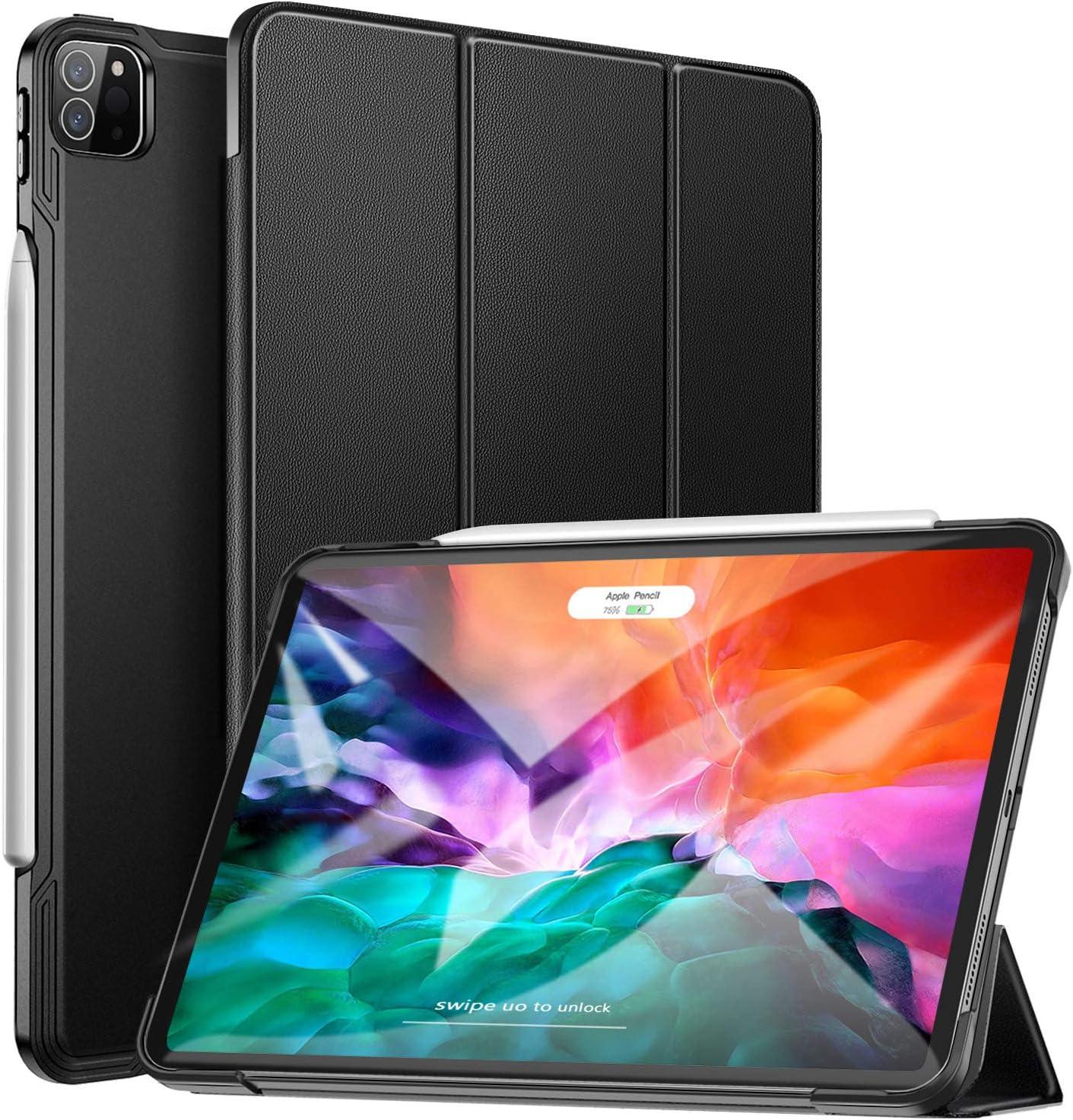 ZtotopCase Funda para iPad Pro 12.9 2020,Cubierta Trasera Smart Cover con Triple Soporte con Auto Reposo/Activación Función para iPad Pro 12,9 2020(Soporta Cargar iPad Pencil), Negro