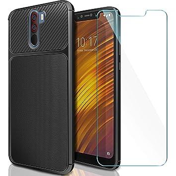 AROYI Funda Xiaomi Pocophone F1 + Cristal Templado, Carcasa Pocophone F1 Carcasa & Protector de Pantalla + Soft TPU Silicone Back Protective Case para ...